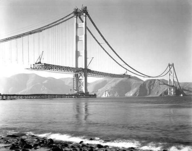 golden gate, bridge, the usa, Construction, river