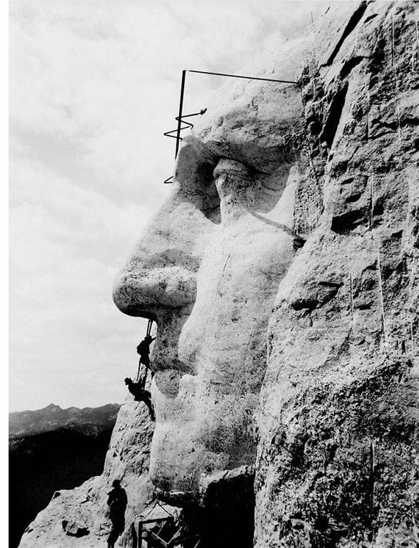 Rushmore, mountain, carving, George Washington, nose