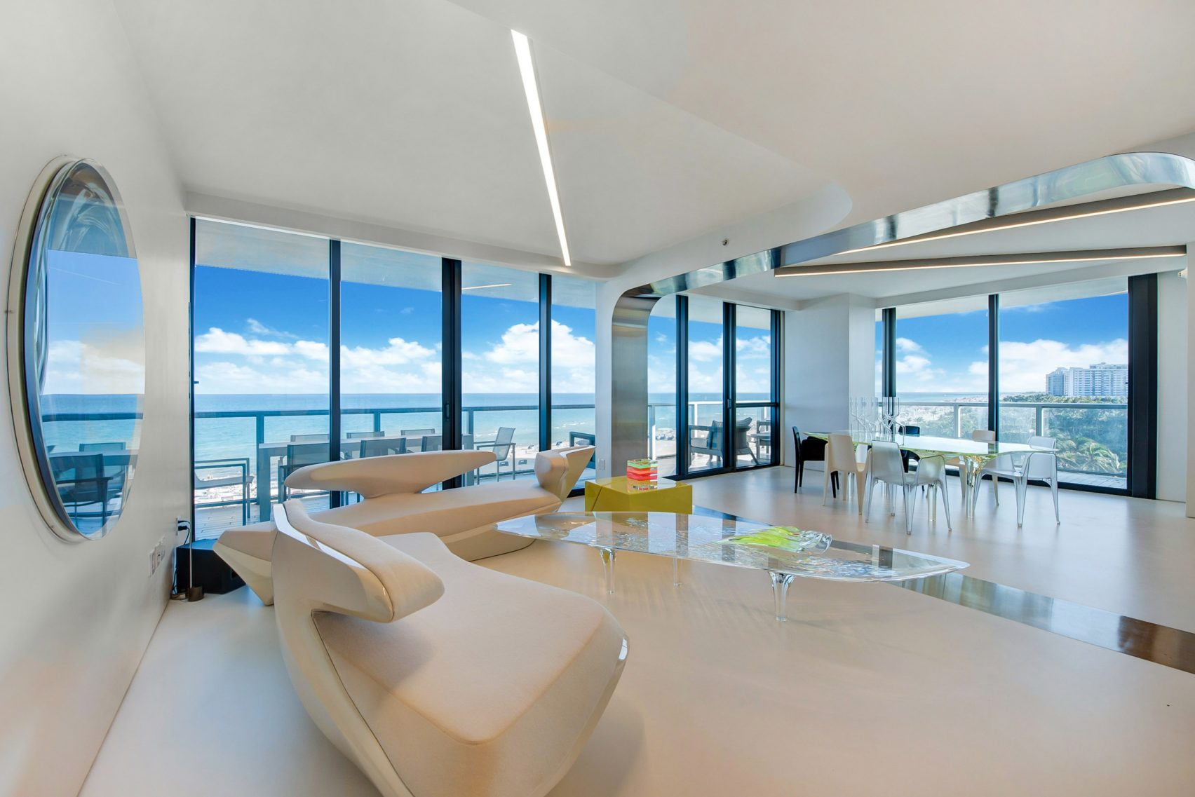design, luxury, penthouse, american, miami, modern, zaha hadi, beach, architect, villa, billionaire, house, usa, livingroom, window