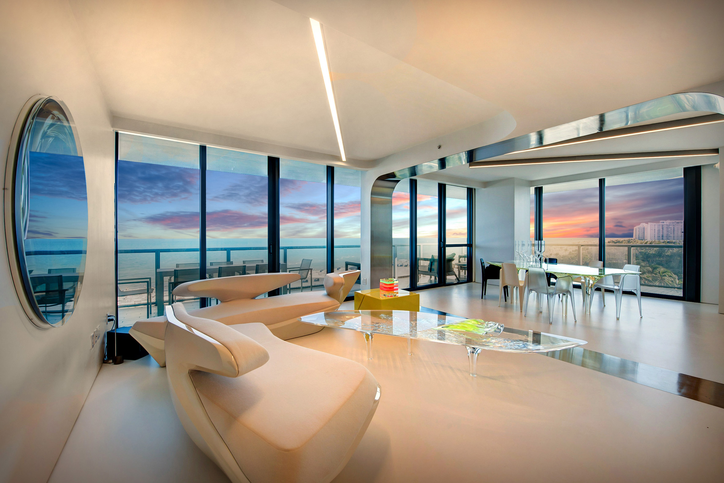 design, luxury, penthouse, american, miami, modern, zaha hadi, beach, architect, villa, billionaire, house, usa, livingroom, twilight