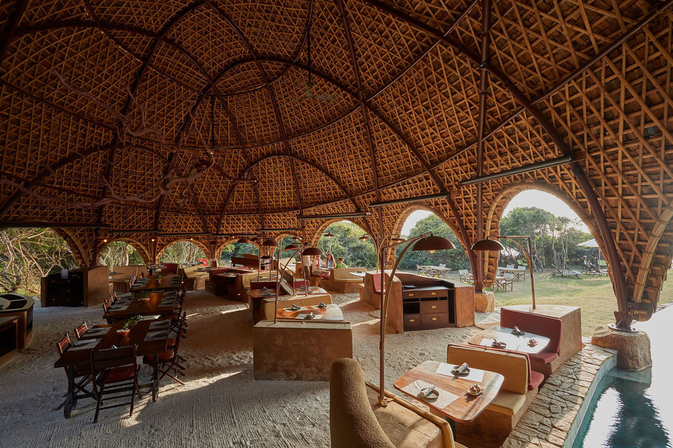 Wild Coast Tented Lodge, Yala national park, Sri Lanka, 36 tented villas, spa, main facilities, Resplendent Ceylon, Bo Reudler Studio, nature, top destination, vacation, holiday, summer, trip, island, Indian ocean, ocean, beach, national park, facilities, luxury, hotel, luxury hotel, residence, architect, safari, safari camp, dryland forest, five-star lodge, luxury tented camp, jungle, Nomadic Resorts, designer, fabric structures, tent, bamboo, leopard, luxury five-star resort room, canvas, resort, restaurant, pool, swimingpool, sundowner, cocktails, picnics, Yala